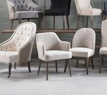 Donatella Carver Dining Armchair in linen upholstery