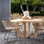 Block & Chisel round recycled teak dining table