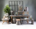 Block & Chisel round natural concrete side table with wooden legs