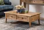 oak coffee table with 2 louvred drawers