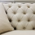 Block & chisel Duchess Linen tufted cream sofa, 2 seater