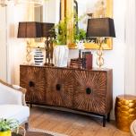 Sunburst decal wooden long brown server sideboard with metal legs