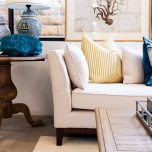 Karissa Beige 3 seater Sofa with tufted detailed back and wooden legs