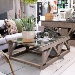 Herbert Coffee Table - Distressed Unique Coffee Table with Glass top