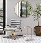 Daniel side table - gold metal with mirror top and 3 legs