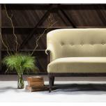 Block & Chisel mustard velvet upholstered 2 seater sofa