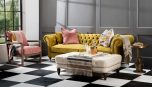 chesterfield 3 seater in gold