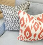Block & Chisel ikat red orange pattern scatter cushion back