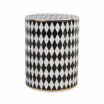 ceramic black and white harlequin stool