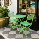Block & Chisel green metal outdoor cafe set