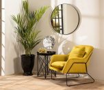 gold velvet occasional chair with black metal frame
