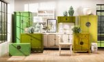 green lacquered chinese sideboard with drawers and doors