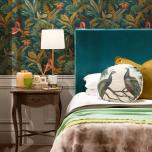 slipcover headboard in evergreen velvet