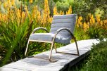 Gold metal framed chair upholstered in Grey cord fabri