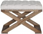 Block & Chisel cream upholstered button tufted stool