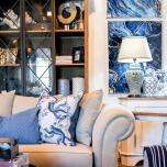 Block & Chisel blue monkey cushion