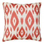 Block & Chisel ikat red orange pattern scatter cushion front