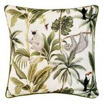 Block & Chisel monkey print and velvet cushion green grey