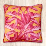 Block & Chisel Cushion in pink leaves yellow