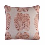 Hillhouse scatter cushion pink Monster leaf on linen