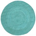 Block & Chisel round blue braided jute carpet