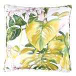 green yellow cushion in floral pattern, tropical, front