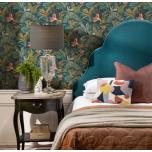 Royal headboard in evergreen velvet fabric