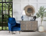 Emily occasional chair in royal blue upholstery with additional back cushion