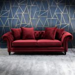 chesterfield sofa in ruby red