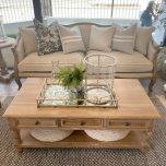 block and chisel oak coffee table with bottom shelf