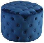 Block & Chisel round blue upholstered button tufted stool