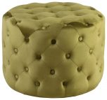 Block & Chisel round green upholstered button tufted stool