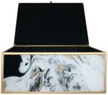 Block & Chisel rectangular glass box with a gold and black marble finish