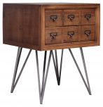 Block & Chisel Side Table Old Fir Wood Metal Base