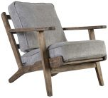 Block & Chisel grey upholstered occasional chair with rubber wood legs
