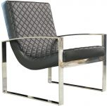 Block & Chisel black pu leather upholstered armchair with Stainless steel base