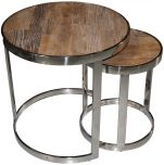 Block & Chisel round old elm wood nesting tables with stainless base
