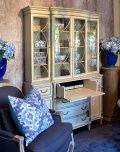 Wall cabinet with glass doors and bottom wooden drawers