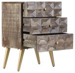 Block & Chisel mango wood bedside table with tapered metal