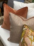 scatter cushion in Wallace salmon
