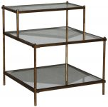 Block & Chisel antique mirror and glass display shelf with iron base