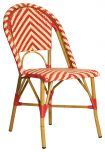 Block & Chisel cafe red and beige PE rattan dining chair with Aluminium Bamboo frame
