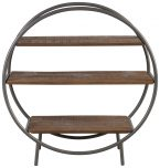 Block & Chisel round bookshelf with wooden shelves and iron frame