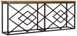 Block & Chisel rectangular oak wood console table with geometric iron base