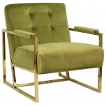 Block & Chisel green upholstered velvet occasional chair with stainless steel legs