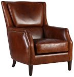 Block & Chisel brown bovine leather armchair with wooden legs