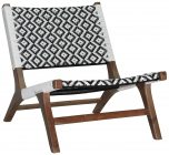 Block & Chisel black and white rattan weave chair with teak wood frame and legs