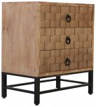 Block & Chisel 3 drawer wood and metal bedside table