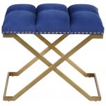Block & Chisel blue velvet upholstered stool