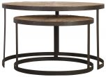 Block & Chisel round reclaimed wood nesting tables with iron base
